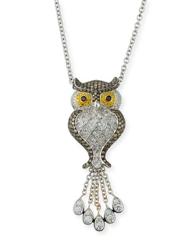 18K DIAMOND PAVE OWL PENDANT NECKLACE