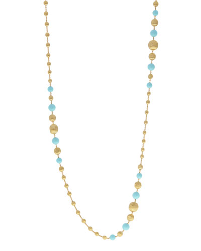18k Africa Long Turquoise Beaded Necklace