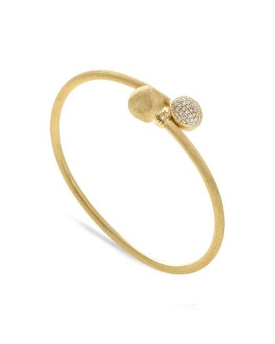 18k Gold Africa Diamond Pave Bangle
