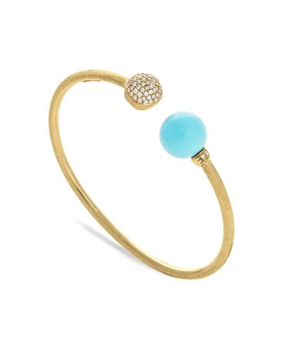 18k Africa Diamond & Turquoise Bangle