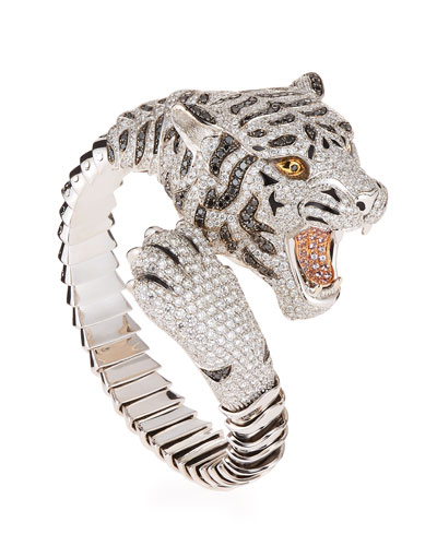 18k Diamond Pavé Tiger Bangle