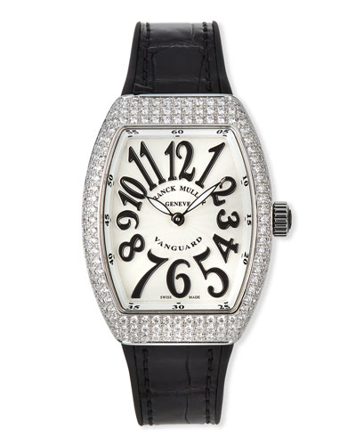 Lady Vanguard Watch with Diamonds & Alligator Strap