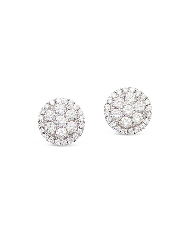 18k Firenze II Round Diamond Cluster Stud Earrings