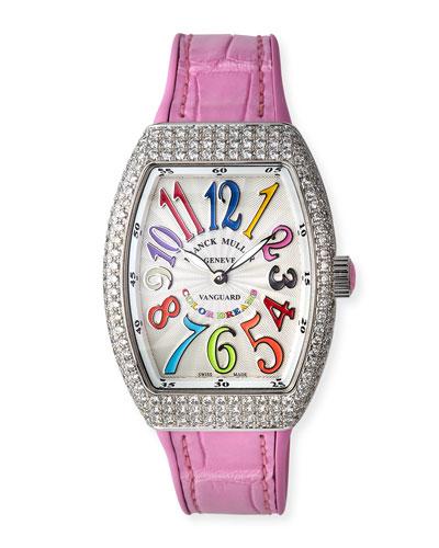 Lady Vanguard Color Dreams Diamond Watch w/ Alligator Strap, Pink