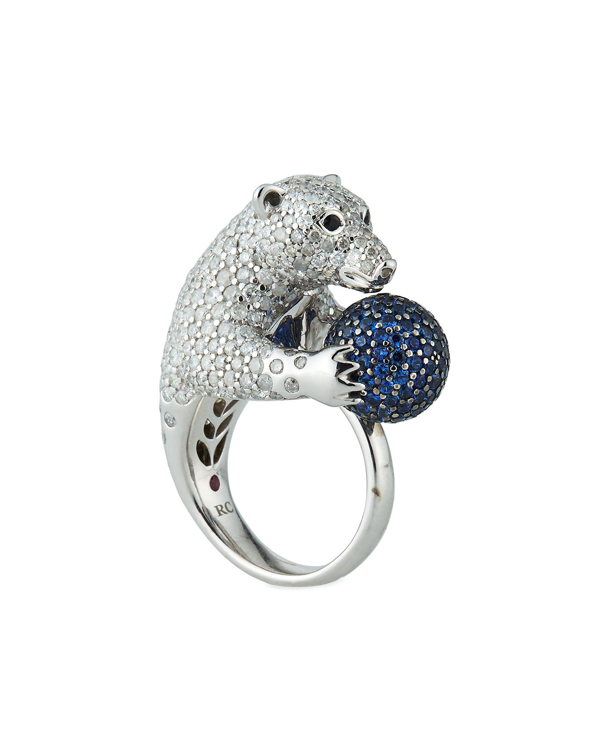 18K DIAMOND PAVE POLAR BEAR RING, SIZE 6.5