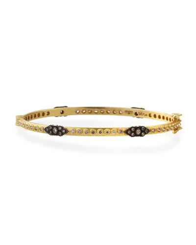 Old World 18k Gold Hinged Diamond Huggie Bangle Bracelet