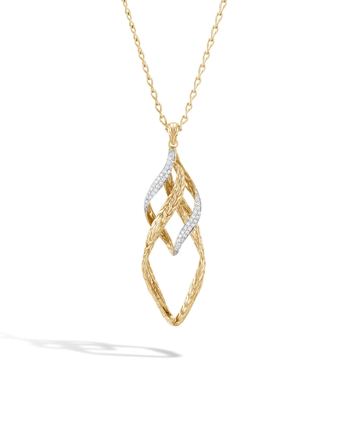 7d089188f38b5 18K Yellow Gold Classic Chain Pave Diamond Twist Link Pendant Necklace, 16  in White/Gold