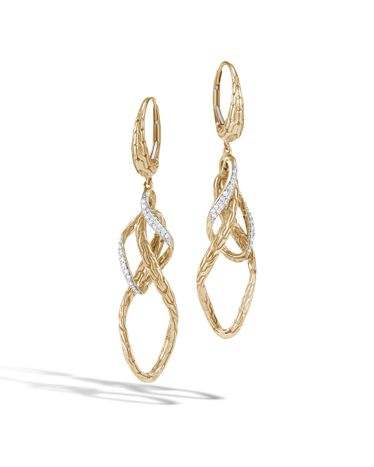 John Hardy 18k Classic Chain Double Wave Drop Earrings JLu8geawrp
