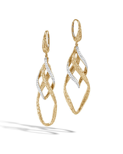 18k Classic Chain Double Wave Drop Earrings