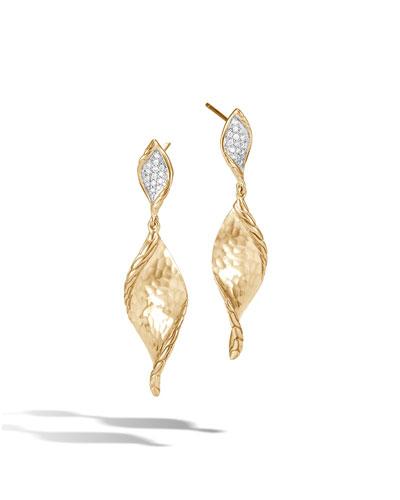 18k Classic Chain Diamond Wave Earrings