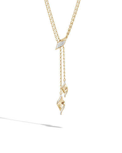 18k Classic Chain Wave Diamond Lariat Necklace, 32