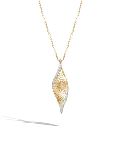 18k Classic Chain Wave Pendant Necklace w/ Diamond Trim, 36