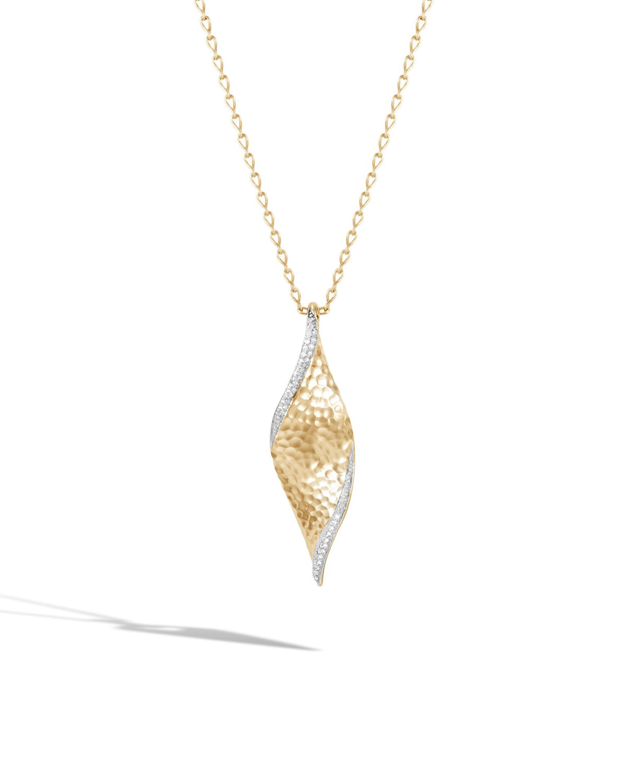 John Hardy 18k Classic Chain Open Wave Pendant Necklace w/ Diamond Trim FSgvPdN