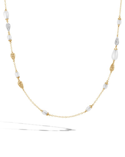 18k Classic Chain Necklace w/ Diamond & Moonstone Droplets, 36