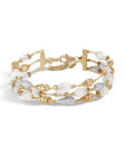 18k Classic Chain Multi-Row Bracelet w/ Diamond Droplets, Size Medium