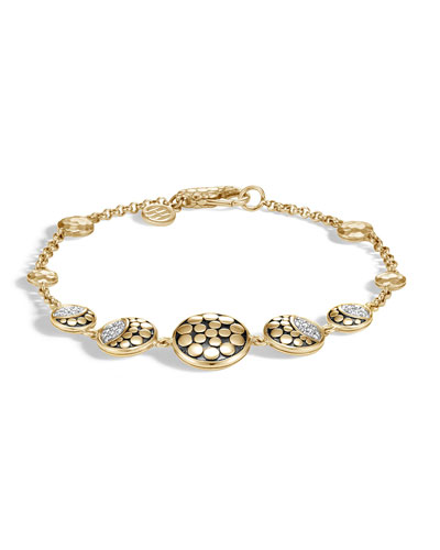 18k Dot Diamond Moon Phase Station Bracelet, Size Small