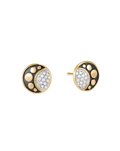 18k Moon Phase Diamond Dot Stud Earrings