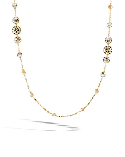 18k Dot Diamond Moon Phase Station Necklace, 36