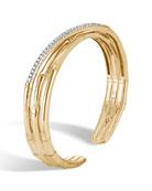 18k Bamboo Diamond Split Flex Cuff Bracelet, Size Small