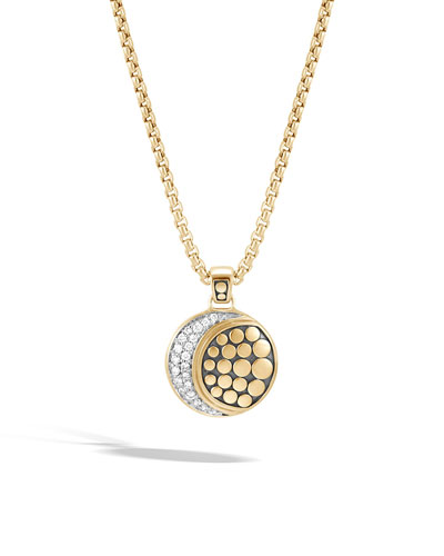 18k Dot Diamond Moon Phase Pendant Necklace