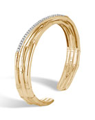 18k Bamboo Diamond Split Flex Cuff Bracelet, Size Medium