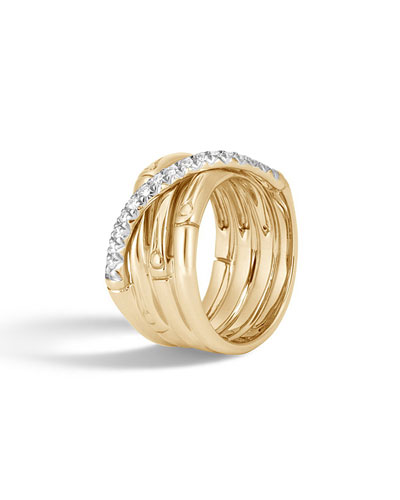 18k Bamboo Diamond Multi-Band Ring, Size 8