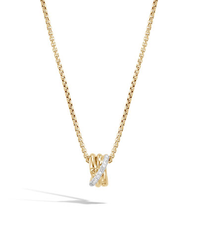 18k Bamboo Diamond Pendant Necklace