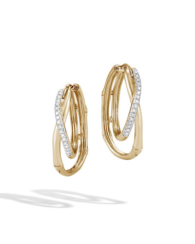 18k Bamboo Diamond Pavé Hoop Earrings