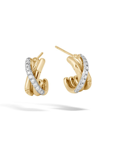 Bamboo 18k Diamond Small J-Hoop Earrings