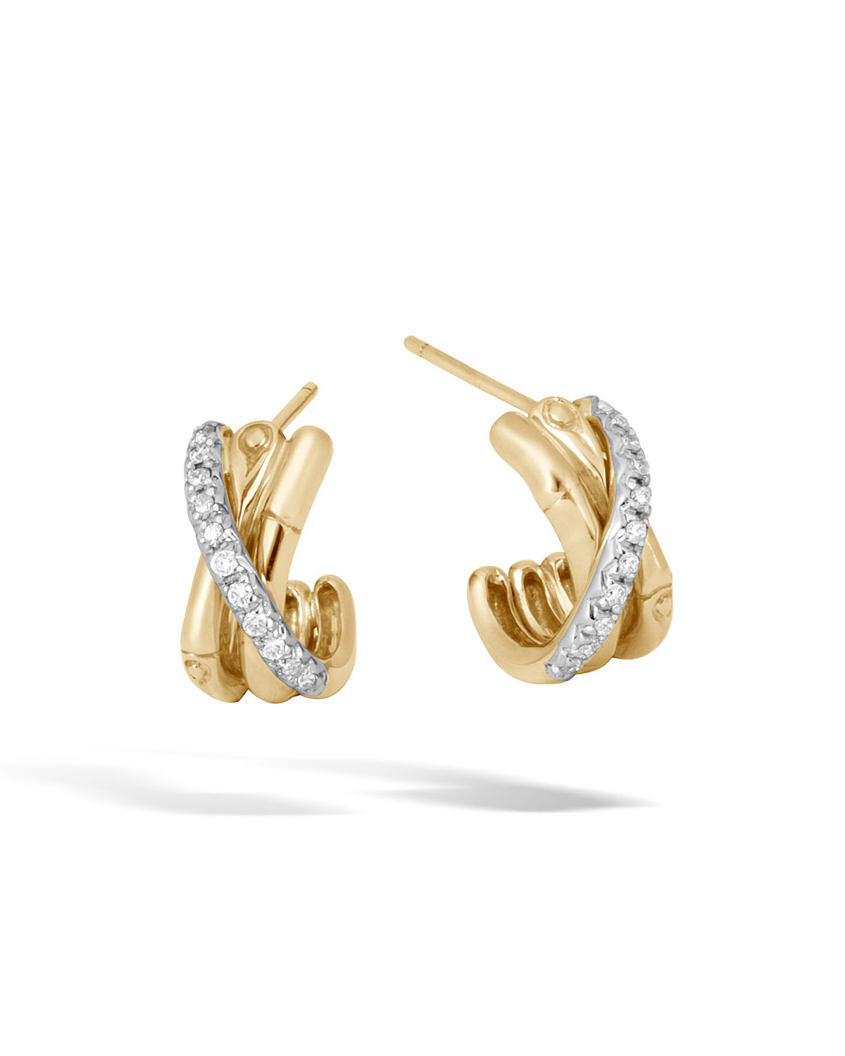 18K Yellow Gold Bamboo Pave Diamond J Hoop Earrings in Gold/ Diamond