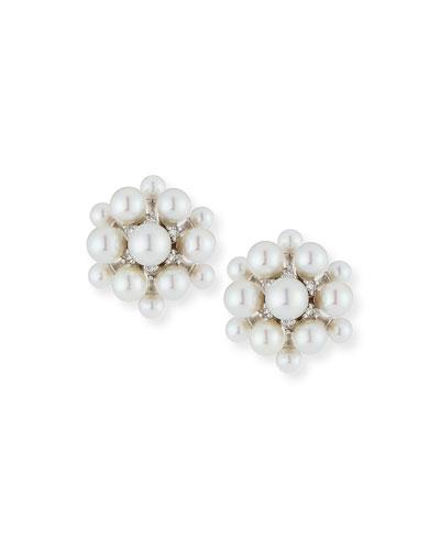 18k White Gold Pearl & Diamond Orbit Earrings
