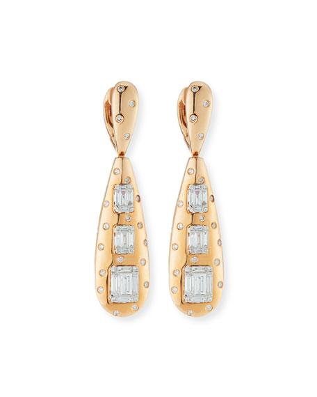 Andreoli 18k Rose Gold Baguette Diamond Teardrop Earrings