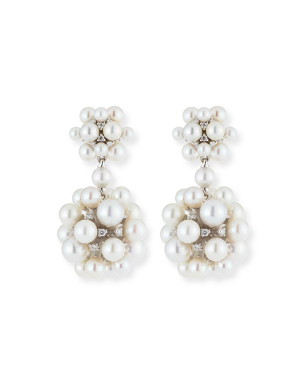PAUL MORELLI 18K Pearl & Diamond Orbit Double Drop Earrings