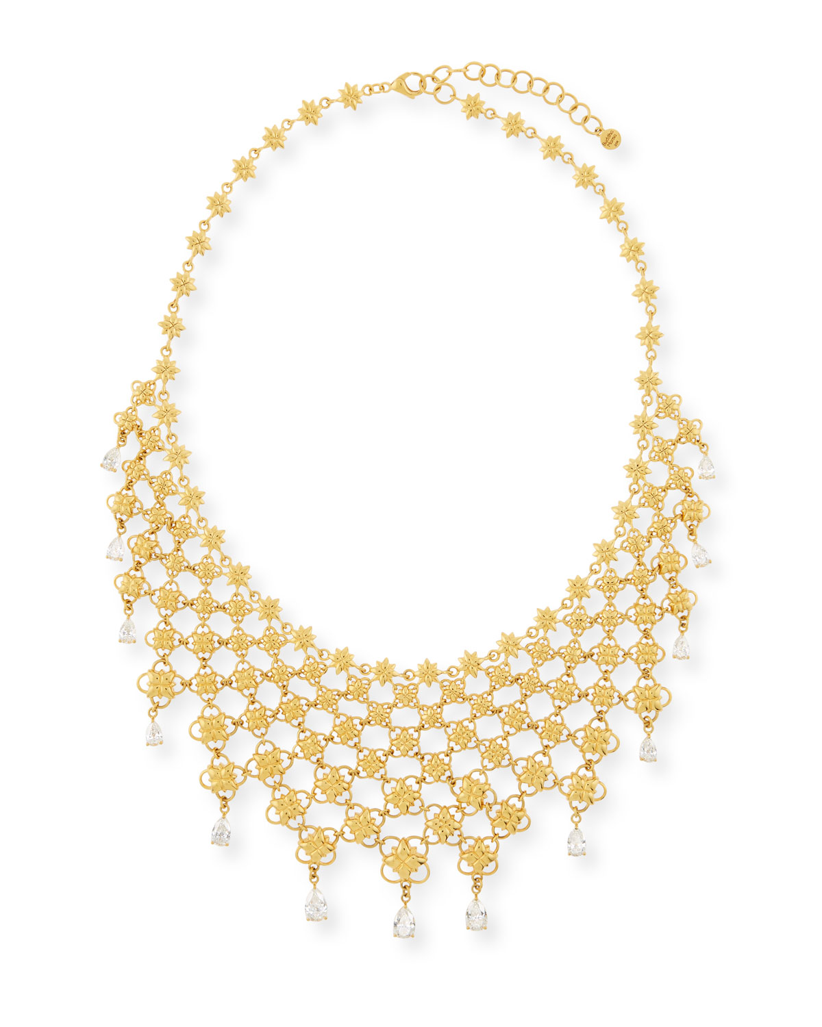 BUDDHA MAMA 20K MESH BIB NECKLACE W/ PEAR-CUT DIAMONDS