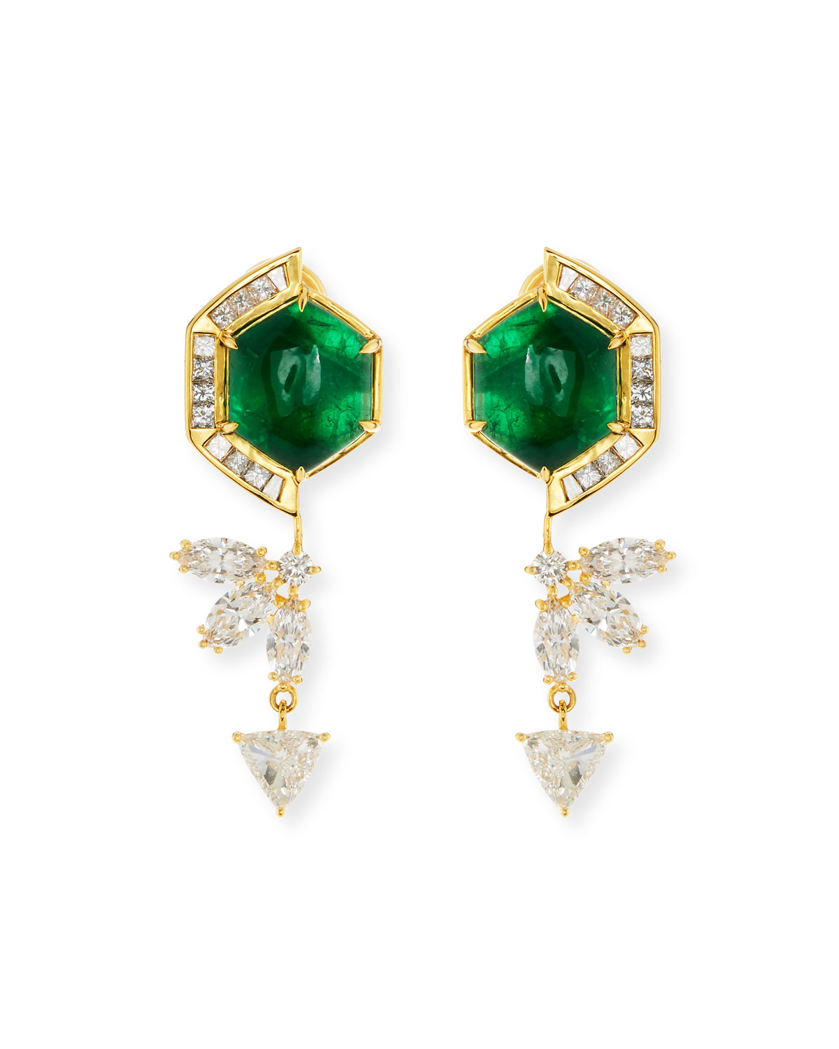 BUDDHA MAMA 20K HEXAGON EMERALD & DIAMOND DROP EARRINGS