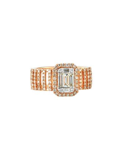 18k Pavé & Baguette Wide Diamond Ring, Size 7