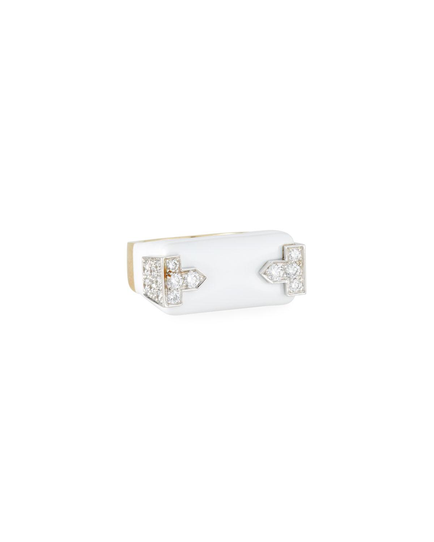 18k White Enamel & Diamond Hero Ring