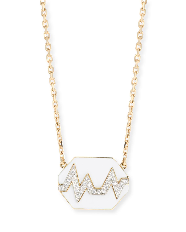 18k Skip Necklace w/ Enamel & Diamonds
