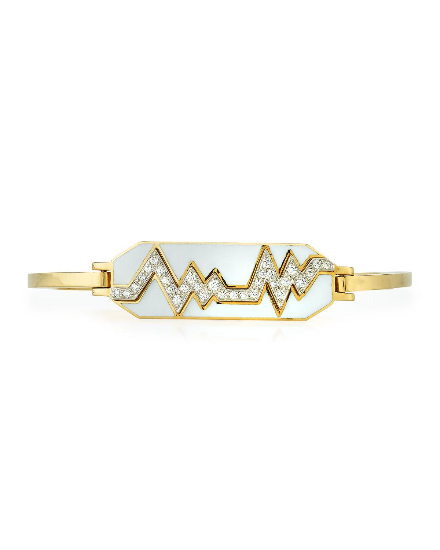 """""Motif"" 18k Gold Diamond Skip Zigzag Bracelet with White Enamel & Platinum"""