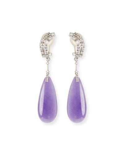 18k Lavender Jadeite Teardrop Earrings