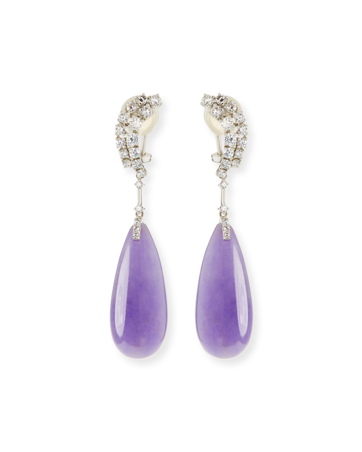 DAVID C.A. LIN 18K LAVENDER JADEITE TEARDROP EARRINGS
