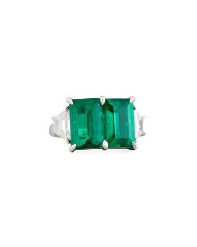 Platinum Emerald & Diamond Ring, Size 6