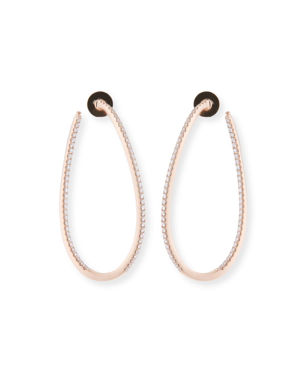 18KRG Large Diamond Pave Twist Hoop Earrings