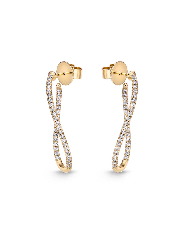 MEMOIRE 18KYG SMALL DIAMOND PAVE TWIST HOOP EARRINGS