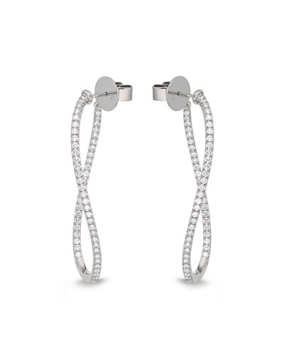 Diamond Pavé Hoop & Huggie Earrings, 18k White Gold