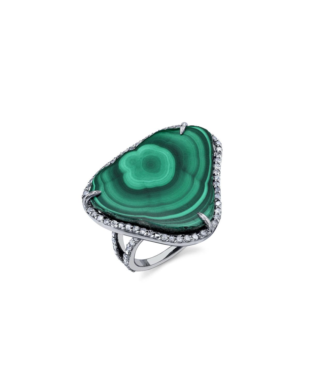 MALACHITE SLICE RING WITH DIAMONDS, SIZE 8