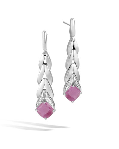 Magic Cut Modern Chain Drop Earrings w/ Diamonds in Pink Sheen Sapphire