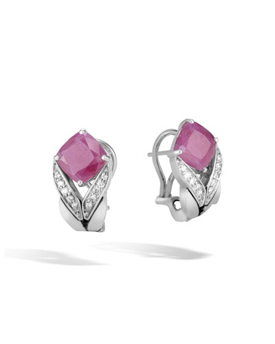 Modern Chain Magic Cut Buddha Belly Earrings in Pink Sheen Sapphire & Diamonds