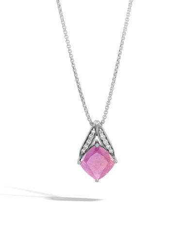 Modern Chain Silver Pave Magic Cut Pendant Necklace in Pink Sheen Sapphire, 16