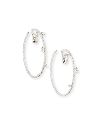 18k White Gold Spaghetti Diamond Hoop Earrings, 2.2 cts